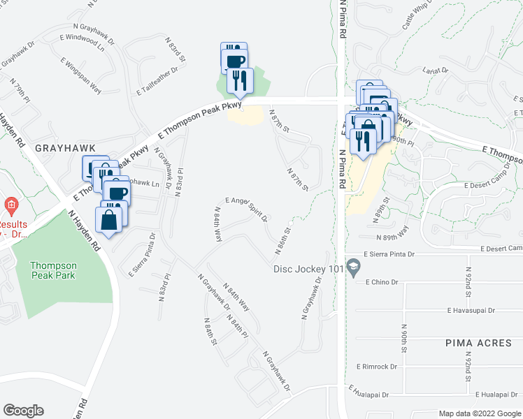 map of restaurants, bars, coffee shops, grocery stores, and more near 8548 East Angel Spirit Drive in Scottsdale