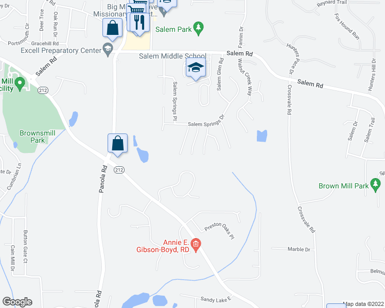 map of restaurants, bars, coffee shops, grocery stores, and more near 3735 Salem Chapel Drive in Lithonia