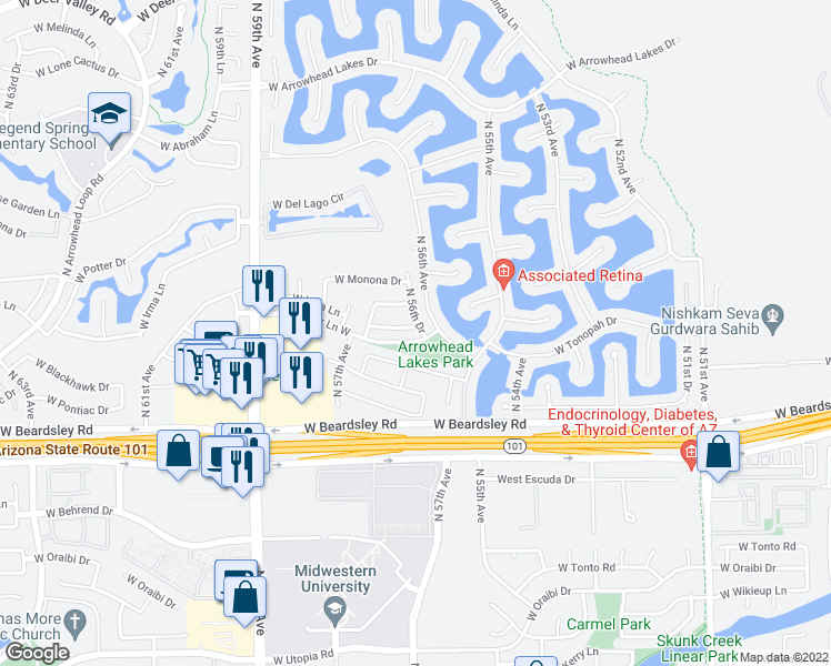 map of restaurants, bars, coffee shops, grocery stores, and more near 5647 West Irma Lane in Glendale