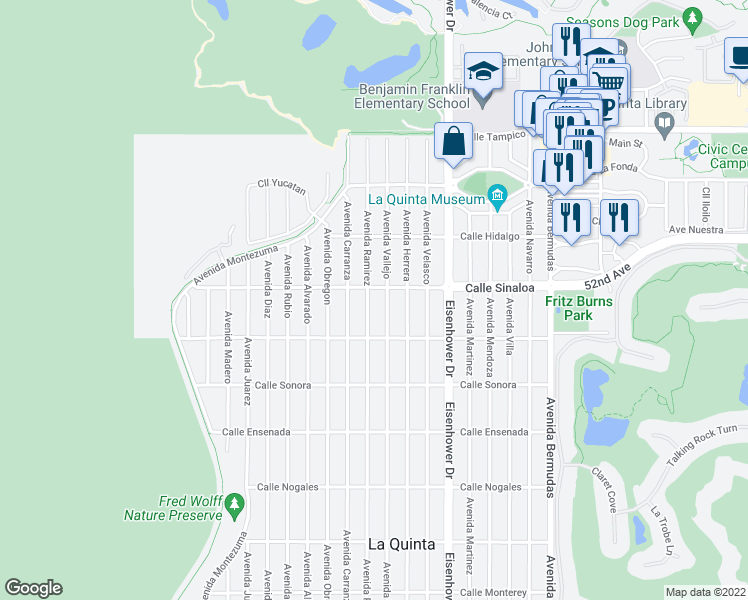 map of restaurants, bars, coffee shops, grocery stores, and more near 51800 Avenue Ramirez in La Quinta
