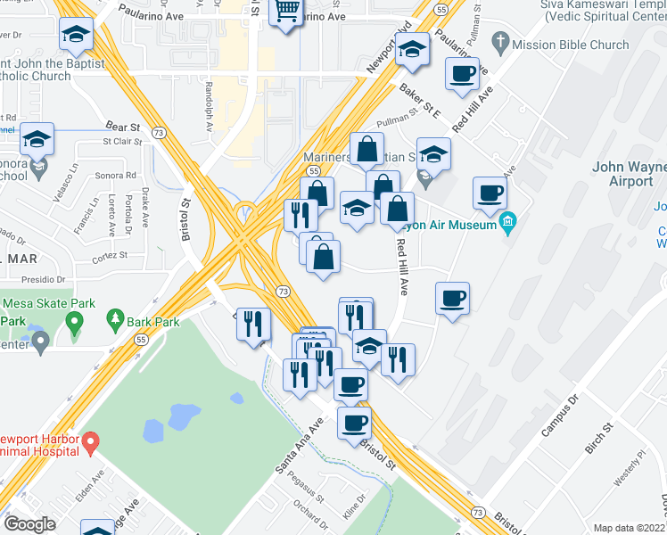 map of restaurants, bars, coffee shops, grocery stores, and more near 151 Kalmus Drive in Costa Mesa