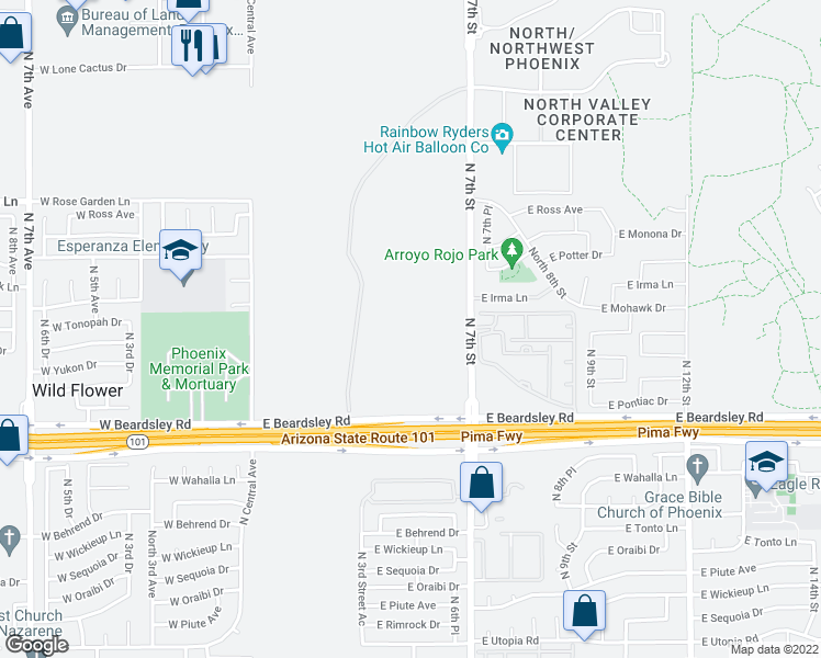 map of restaurants, bars, coffee shops, grocery stores, and more near 20435 North 7th Street in Phoenix