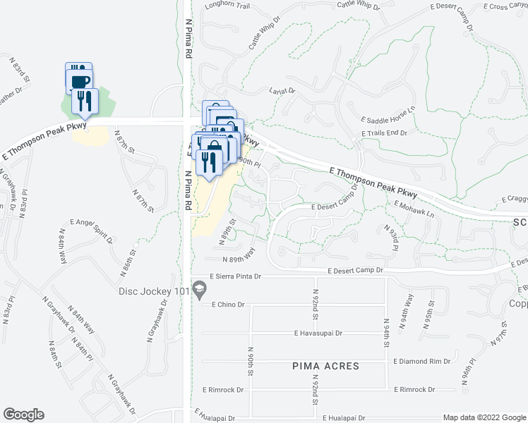 map of restaurants, bars, coffee shops, grocery stores, and more near 20704 North 90th Place in Scottsdale