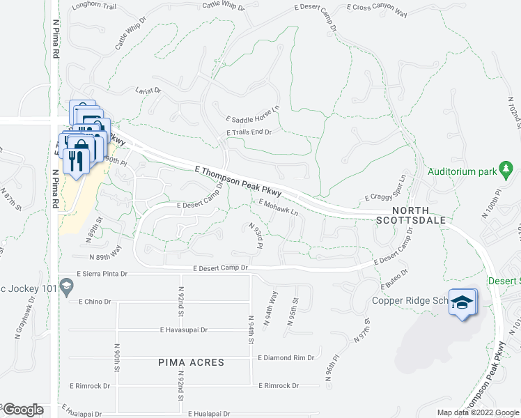 map of restaurants, bars, coffee shops, grocery stores, and more near 9435 East Mohawk Lane in Scottsdale