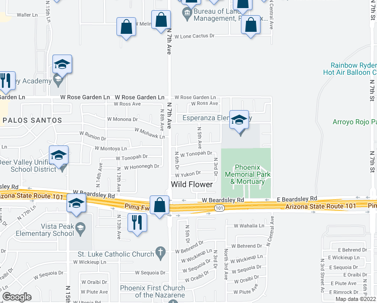 map of restaurants, bars, coffee shops, grocery stores, and more near 520 West Tonopah Drive in Phoenix