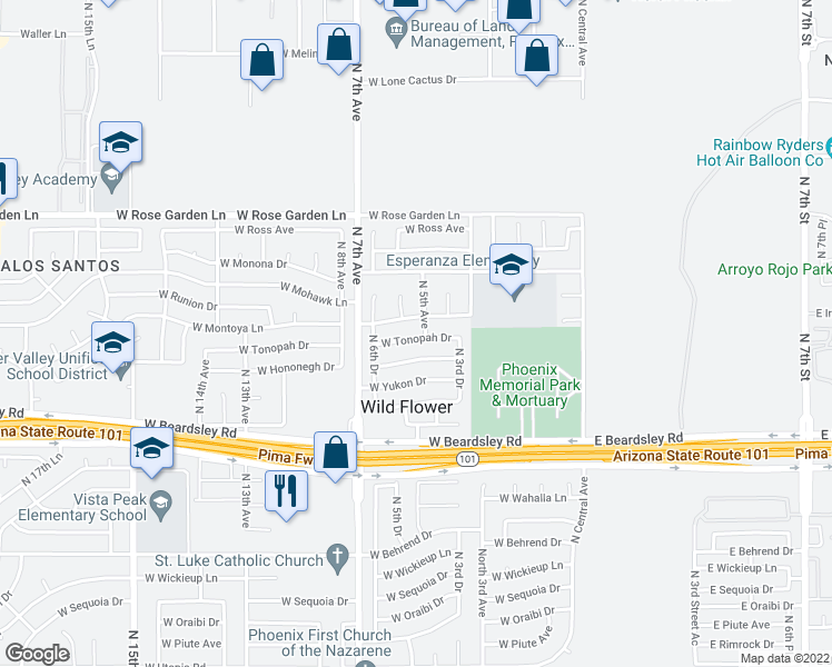 map of restaurants, bars, coffee shops, grocery stores, and more near 502 West Tonopah Drive in Phoenix