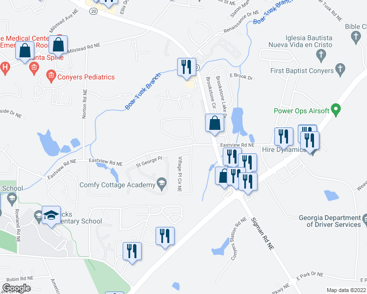 map of restaurants, bars, coffee shops, grocery stores, and more near 1701 Brandon Glen Way in Conyers