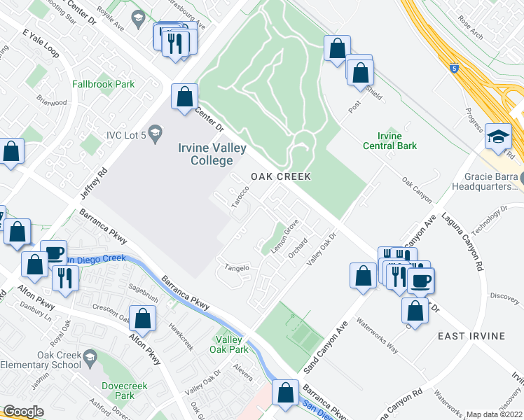 map of restaurants, bars, coffee shops, grocery stores, and more near 500 Orange Blossom in Irvine