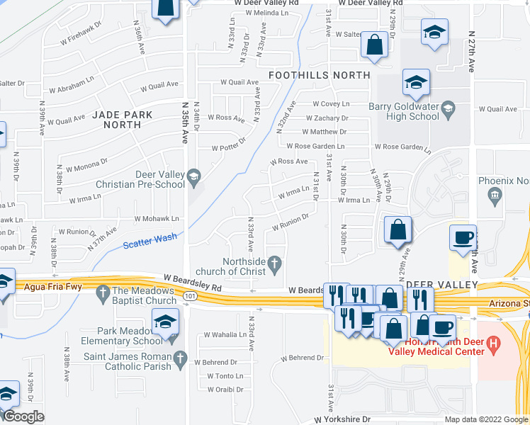 map of restaurants, bars, coffee shops, grocery stores, and more near 3246 West Mohawk Lane in Phoenix
