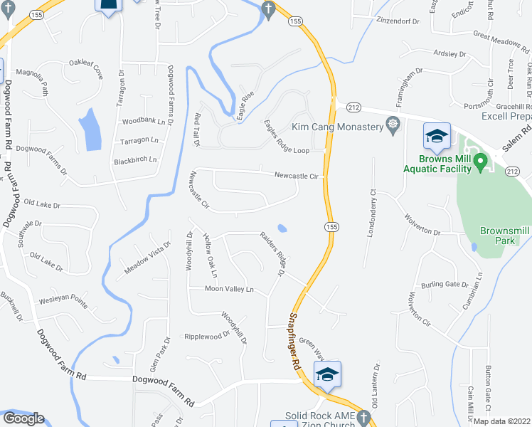 map of restaurants, bars, coffee shops, grocery stores, and more near 4370 Newcastle Circle in Lithonia