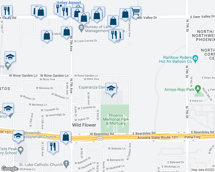 map of restaurants, bars, coffee shops, grocery stores, and more near 165 West Monona Drive in Phoenix