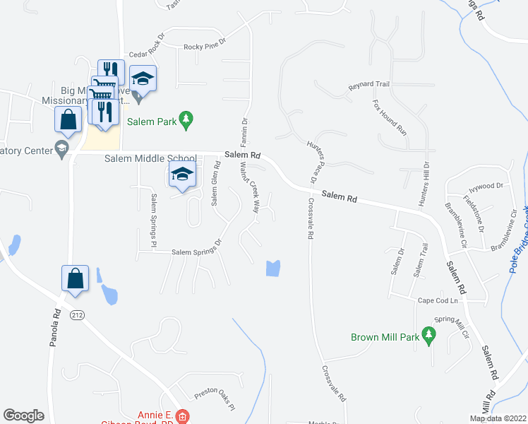 map of restaurants, bars, coffee shops, grocery stores, and more near 5475 Walnut Lane in Lithonia