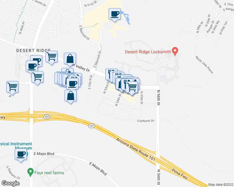 map of restaurants, bars, coffee shops, grocery stores, and more near 5355 East High Street in Phoenix