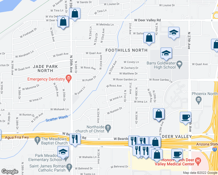 map of restaurants, bars, coffee shops, grocery stores, and more near 3225 West Ross Avenue in Phoenix