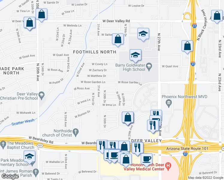 map of restaurants, bars, coffee shops, grocery stores, and more near 3013 West Ross Avenue in Phoenix