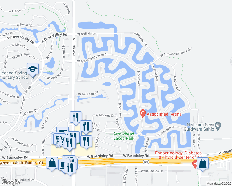 map of restaurants, bars, coffee shops, grocery stores, and more near 21000 North 56th Avenue in Glendale