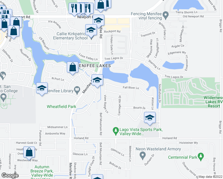 map of restaurants, bars, coffee shops, grocery stores, and more near 29094 Hidden Meadow Drive in Menifee