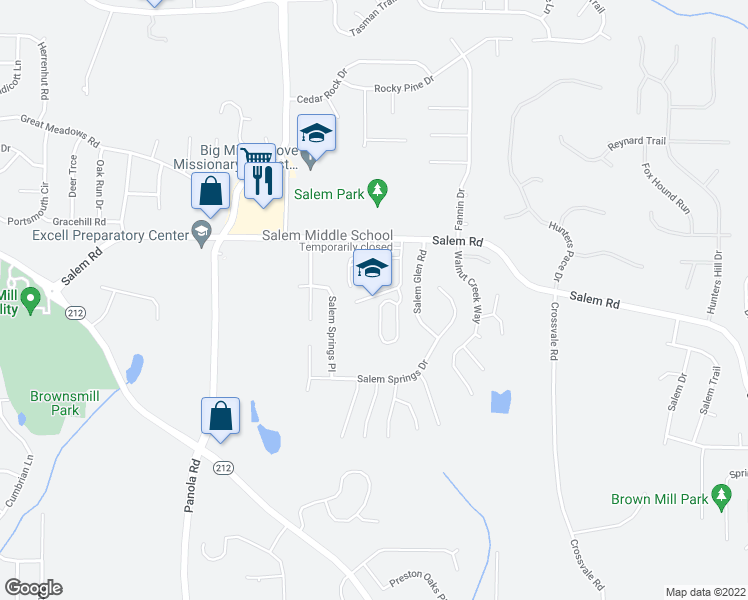 map of restaurants, bars, coffee shops, grocery stores, and more near 5333 Salem Road in Lithonia