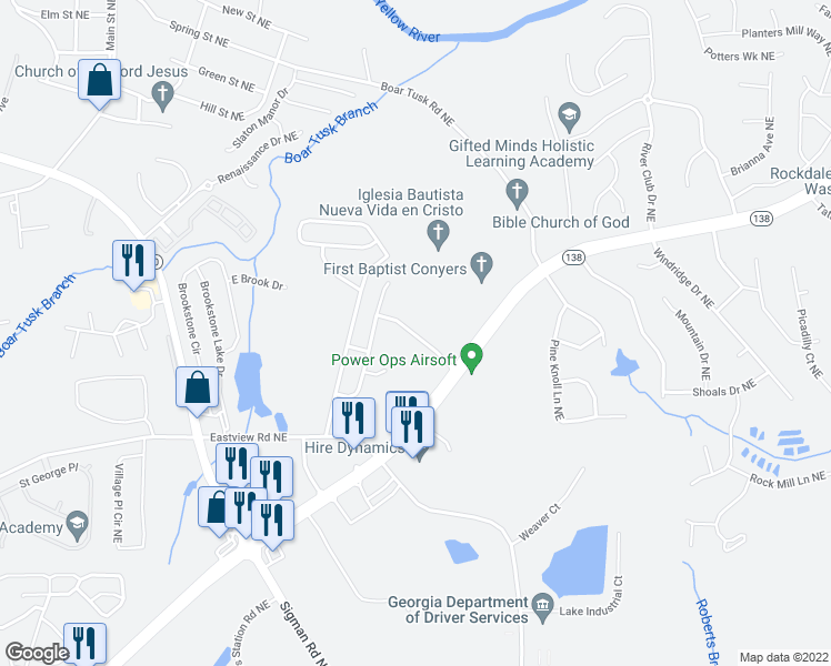 map of restaurants, bars, coffee shops, grocery stores, and more near Bridgestone Business Parkway in Conyers