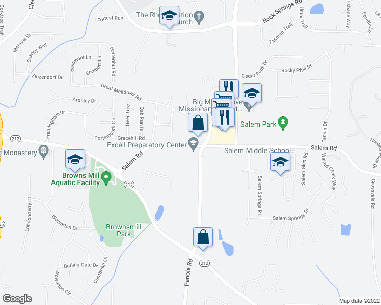 map of restaurants, bars, coffee shops, grocery stores, and more near 5071 Salem Road in Lithonia