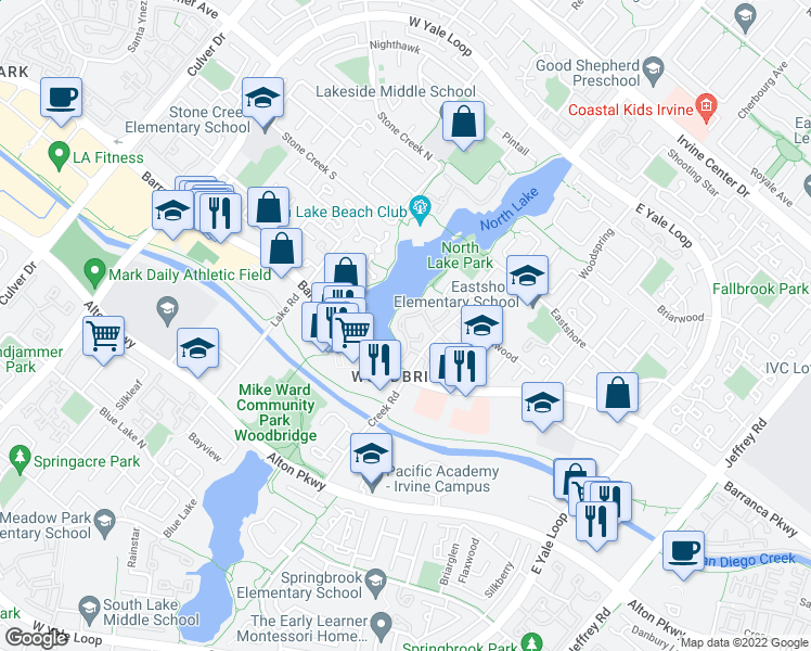 map of restaurants, bars, coffee shops, grocery stores, and more near 29 Lakefront in Irvine