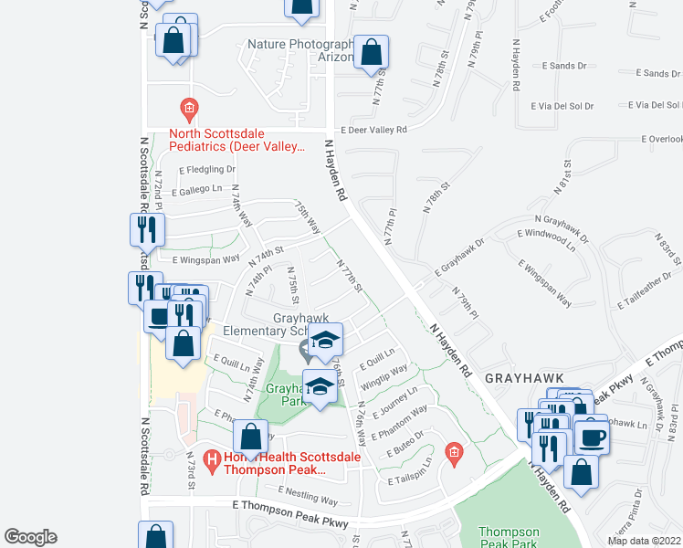 map of restaurants, bars, coffee shops, grocery stores, and more near 7687 East Wing Shadow Road in Scottsdale