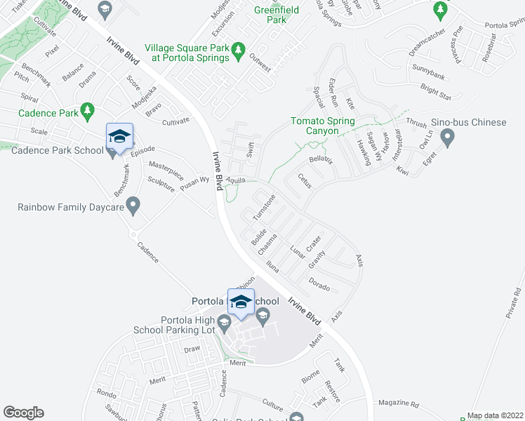 map of restaurants, bars, coffee shops, grocery stores, and more near Turnstone in Irvine