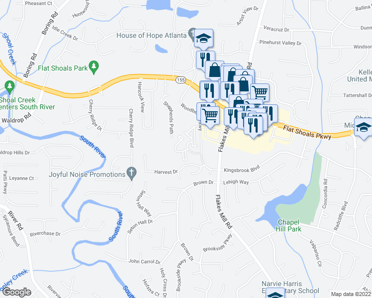 map of restaurants, bars, coffee shops, grocery stores, and more near 100 Woodberry Place in Decatur
