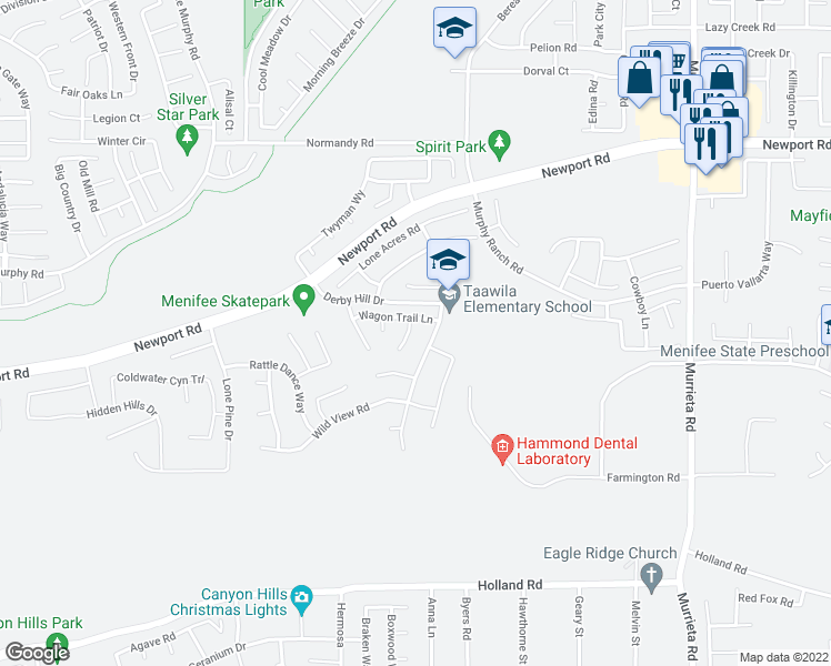 map of restaurants, bars, coffee shops, grocery stores, and more near 30408 Shenandoah Court in Menifee
