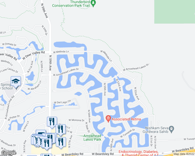 map of restaurants, bars, coffee shops, grocery stores, and more near 5527 West Arrowhead Lakes Drive in Glendale