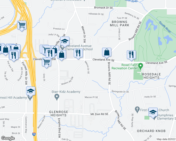 map of restaurants, bars, coffee shops, grocery stores, and more near 2805 Macon Drive Southeast in Atlanta