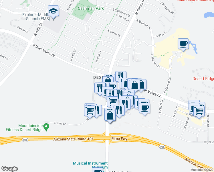 map of restaurants, bars, coffee shops, grocery stores, and more near 21150 North Tatum Boulevard in Phoenix
