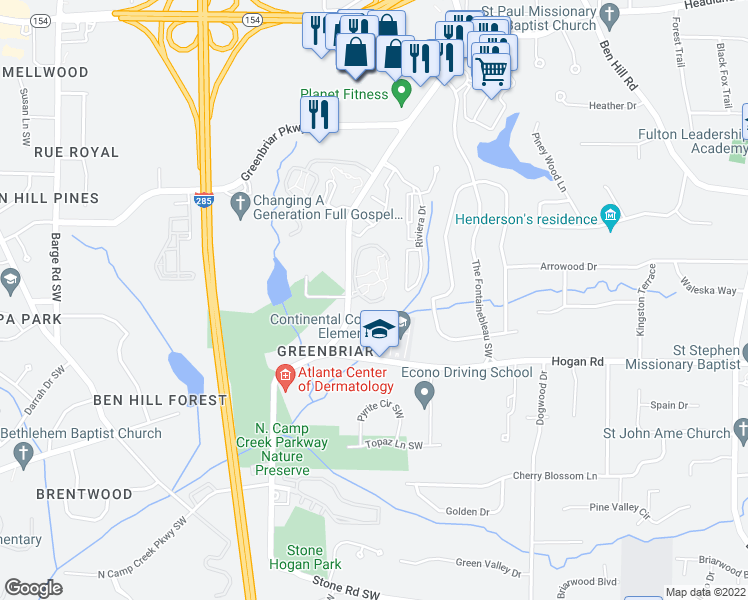 map of restaurants, bars, coffee shops, grocery stores, and more near Qls Meadows in Atlanta