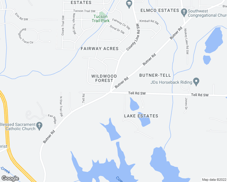 map of restaurants, bars, coffee shops, grocery stores, and more near 4537 Tell Road Southwest in Atlanta
