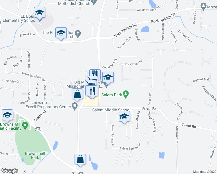 map of restaurants, bars, coffee shops, grocery stores, and more near 3800 Big Miller Grove Way in Lithonia