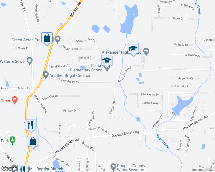 map of restaurants, bars, coffee shops, grocery stores, and more near 6748-6770 Alexander Parkway in Douglasville
