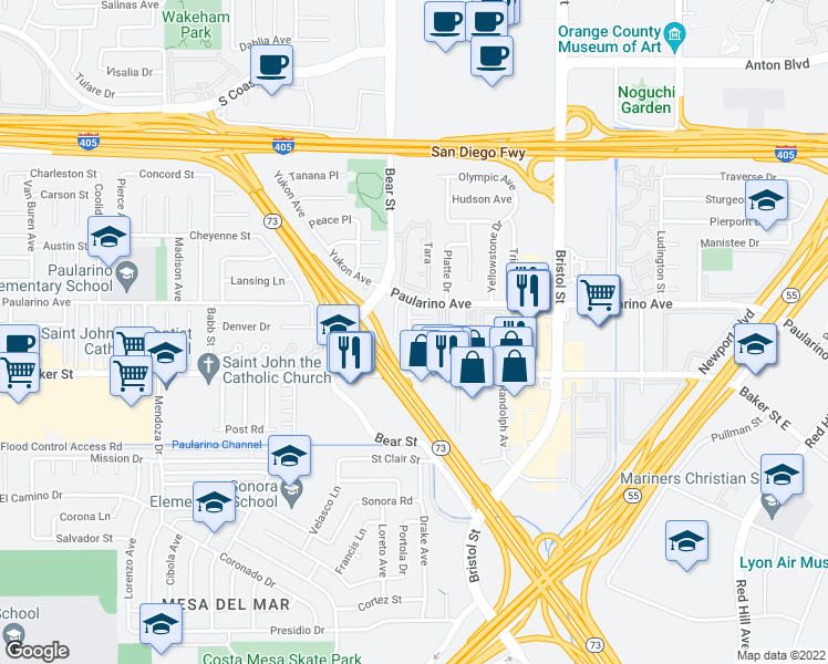 map of restaurants, bars, coffee shops, grocery stores, and more near 3022 Jeffrey Drive in Costa Mesa