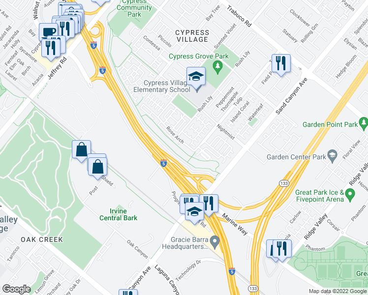 map of restaurants, bars, coffee shops, grocery stores, and more near 63 Bay Laurel in Irvine