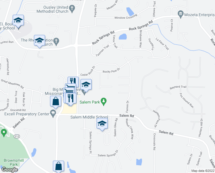 map of restaurants, bars, coffee shops, grocery stores, and more near 5356 Bleckley Court in Lithonia