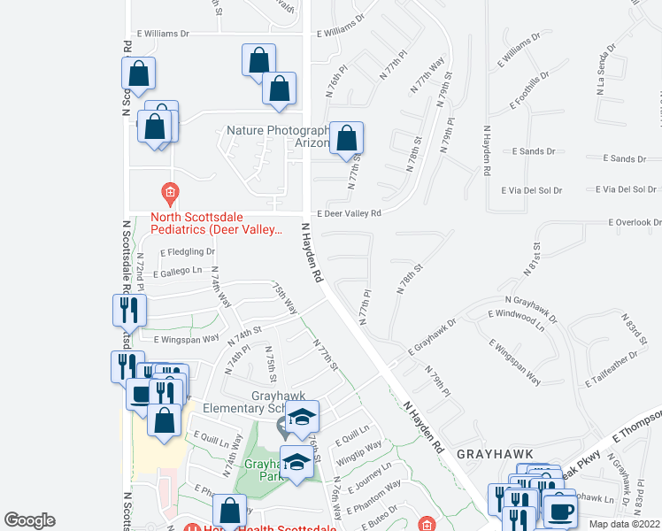 map of restaurants, bars, coffee shops, grocery stores, and more near 7651 East Fledgling Drive in Scottsdale