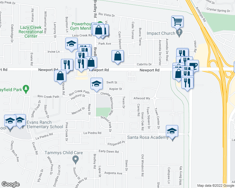 map of restaurants, bars, coffee shops, grocery stores, and more near 27176 Sawyer Road in Menifee