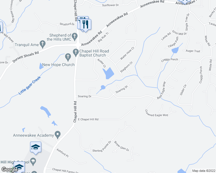 map of restaurants, bars, coffee shops, grocery stores, and more near 4535 Raptor Trail in Douglasville