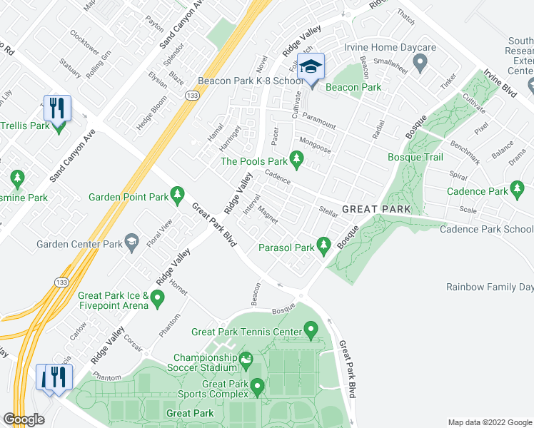 map of restaurants, bars, coffee shops, grocery stores, and more near 321 Magnet in Irvine