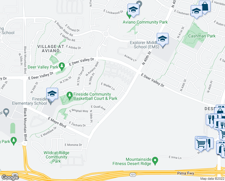 map of restaurants, bars, coffee shops, grocery stores, and more near 3939 East Waller Lane in Phoenix