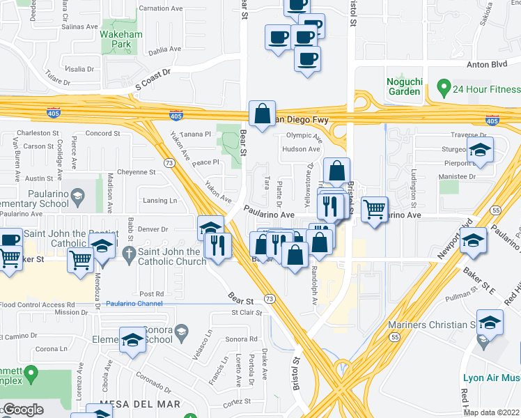 map of restaurants, bars, coffee shops, grocery stores, and more near 809 Spirit in Costa Mesa