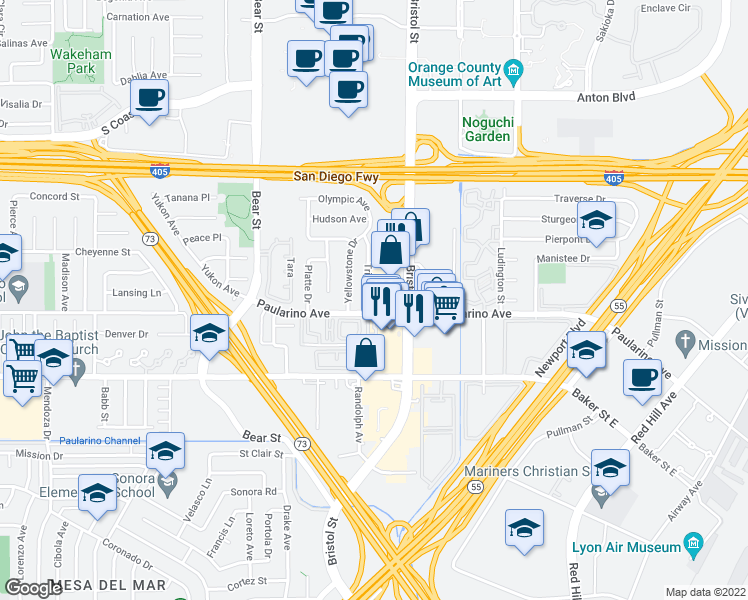 map of restaurants, bars, coffee shops, grocery stores, and more near 3074 Trinity Drive in Costa Mesa