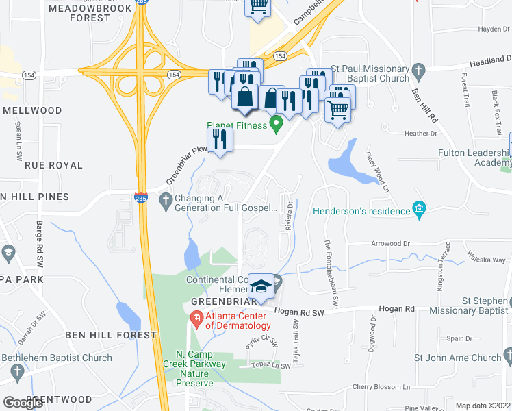 map of restaurants, bars, coffee shops, grocery stores, and more near 3030 Continental Colony Parkway Southwest in Atlanta