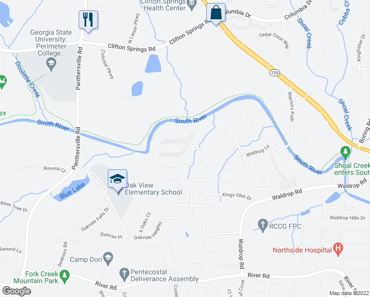 map of restaurants, bars, coffee shops, grocery stores, and more near Waldrop Place in Decatur