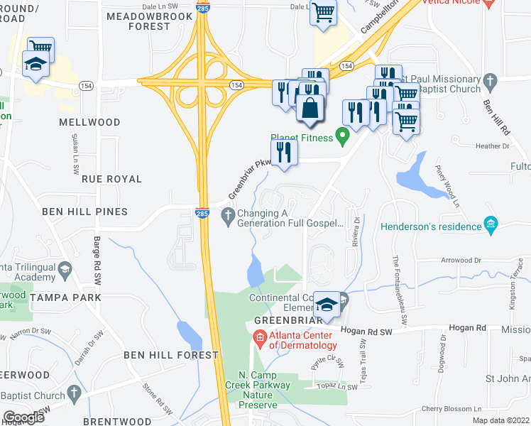 map of restaurants, bars, coffee shops, grocery stores, and more near 3264 Verdant Drive Southwest in Atlanta