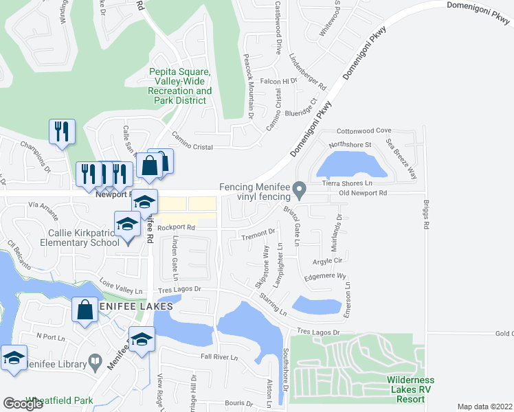 map of restaurants, bars, coffee shops, grocery stores, and more near 29581 Rigging Way in Menifee